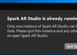 Ошибка при установке Spark AR Studio (Spark AR Studio is already running).