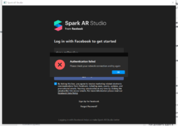 Authentication failed Please check your network connection and try again — Ошибка входа SparkAR